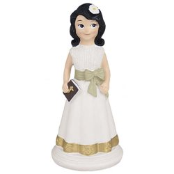 BRUNETTE GIRL COMMUNION WITH BOOK 14 CM. HEIGHT ( CO0100 )