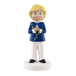 BLOND CHILD COMMUNION PRAYING WITH ROSARY 14 CM. HEIGHT ( CO0094R )