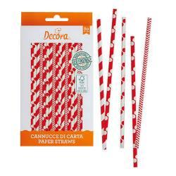 RED & WHITE STRAWS 80 PIECES DECORA (0350104)