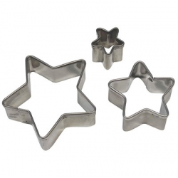 SET 3 MINI METAL STAR CUTTERS WITH PME EJECTOR ( SS253 )