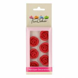 FUNCAKES SET 3 RED ROSES MARZIPAN DECORATIONS ( FC74007 )