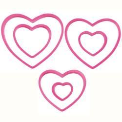 SET 6 WILTON PLASTIC HEART CUTTERS ( 2304 - 115 )