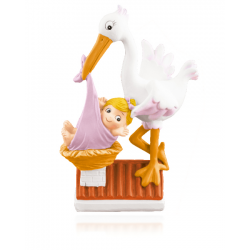 PINK STORK WITH BABY IN RESIN ROOF 14,5 CM. ( NO0181 )