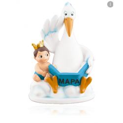 copy of PINK STORK WITH BABY IN RESIN ROOF 14,5 CM. (...