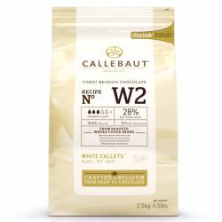 CALLEBAUT WHITE CHOCOLATE CALLETS- 2.5 KG, ( NºW2 )