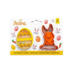 SET 2 RABBIT AND EGG CUTTERS, DECORATED ( 0255060 )