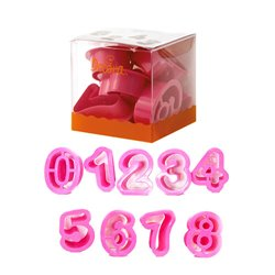 SET 9 PLASTIC CUTTERS IN THE SHAPE OF NUMBERS ( 5.2 X 2.2 CM. HEIGHT ) DECORATES ( 0255080 )