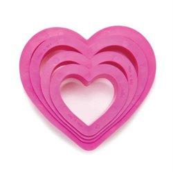 SET OF 4 PLASTIC HEART SHAPED CUTTERS ( 0255305 )