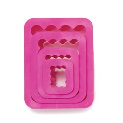 SET 4 PLASTIC CUTTERS WITH CURLY RECTANGULAR SHAPE DECORATES ( 0255310 )