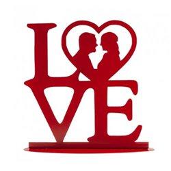 "LOVE"" RED METAL WEDDING CAKE TOPPER 19 X 19 CM. DEKORA ( 305070 )"