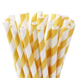 WHITE PAPER STICKS WITH YELLOW LINES PACKAGE 20 UNITS HOUSE OF MARIE