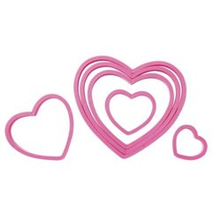 SET 6 WILTON PLASTIC HEART CUTTERS ( 2304-115 )