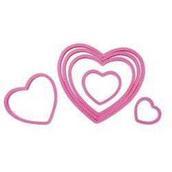 SET 6 WILTON PLASTIC HEART CUTTERS ( 2304-115 )
