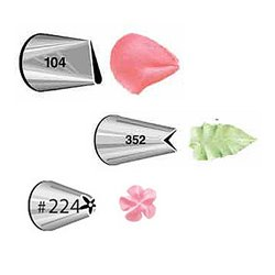 """SET 3 NOZZLES Nº 104, 224 AND 352 WILTON """" PETAL, LEAF AND FLOWER """" ( 418-400 )"""