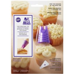 SET 2 DUO PIPING NOZZLE + WILTON DISPOSABLE SLEEVES ( 417-1155 )