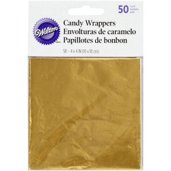 CHOCOLATE WRAPPING, CAKEPOP GOLD COLOR PACKAGE 50 UNITS ( 10 X 10 CM. ) WILTON ( 1904-1197 )
