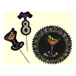 """PICK 24 COCKTAIL CAPSULES + 24 """"HALLOWEEN"""" TOPPERS WILTON ( 415-3028 )"""