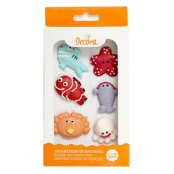 6 UNITS OF SUGAR DECORATIONS MARINE ANIMALS ( 0500161 )