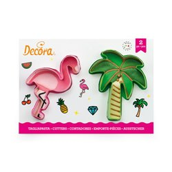 SET 2 PLASTIC FLAMENCO AND PALM TREE CUTTERS ( 0255071 )