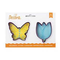 SET 2 PLASTIC BUTTERFLY AND FLOWER CUTTERS ( 0255075 )