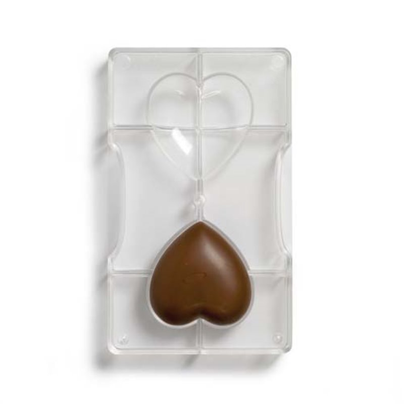 MOULD 2 UNITS HEART FOR CHOCOLATE 67,9 X 66,4 MM TRANSPARENT DECOR (0050078)