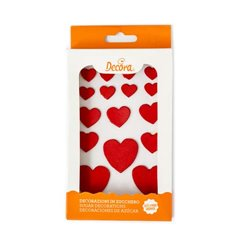 16 PIECES OF SUGAR HEART DECORATIONS ( 0500355 )