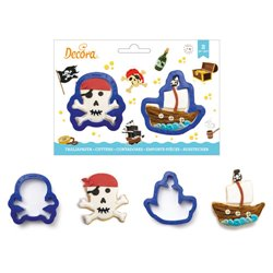 SET 2 PLASTIC CUTTERS SKULL AND BOAT DECORATES ( 0255197 )