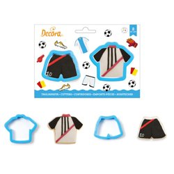 SET 2 PLASTIC CUTTERS FOOTBALL JERSEY AND TROUSERS DECOR ( 0255198 )