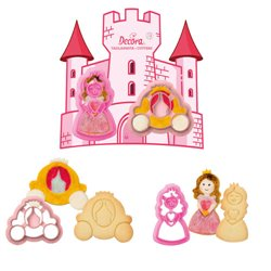 SET 2 PLASTIC CUTTERS CARRIAGE AND PRINCESS DECORATES ( 0255052 )