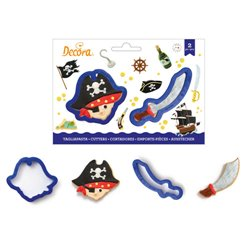 SET 2 PLASTIC PIRATE CUTTERS AND DECORATIVE SABLE ( 0255207 )