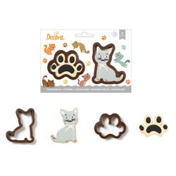 SET 2 PLASTIC CAT AND FOOTPRINT CUTTERS ( 0255210 )