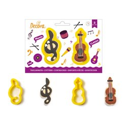 SET 2 PLASTIC KEYSTONE CUTTERS FOR SUN AND VIOLIN DECORATION ( 0255199 )