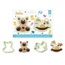 SET 2 PLASTIC CUTTERS TEDDY BEAR AND HORSE DECOR ( 0255195 )