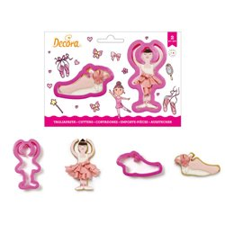 SET 2 PLASTIC BALLERINA CUTTERS AND DECORATIVE SHOE ( 0255196 )