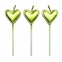 PACK 8 UNITS GOLD HEARTS CANDLES PME ( CA013 )