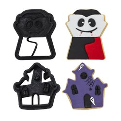 SET 2 PLASTIC VAMPIRE AND HAUNTED HOUSE CUTTERS ( 0255091 )