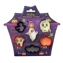 SET 6 PLASTIC MINI CUTTERS HALLOWEEN DECOR ( 0255090 )
