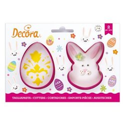 SET 2 EGG CUTTERS AND RABBIT FACE DECORATION ( 0255074 )