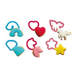 SET 6 UNICORN PLASTIC MINI CUTTERS DECORATE ( 0255064 )
