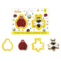 SET 2 PLASTIC CUTTERS BEE AND LADYBUG DECORATES ( 0255193 )
