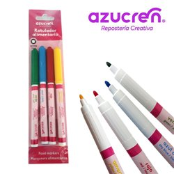 PACK 4 FOOD MARKERS (YELLOW, SKY BLUE, RED AND GREEN) AZUCREN FINE TIP FOR HANGING