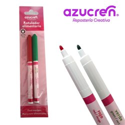 PACK 2 CHRISTMAS FOOD MARKERS ( RED AND GREEN ) AZUCREN FINE TIP FOR HANGING