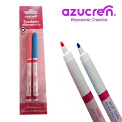 PACK 2 FOOD MARKERS (BLUE AND PINK) AZUCREN FINE TIP FOR HANGING