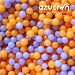 ORANGE-LILAC PEARLS ( WITHOUT LUSTRE ) WITH 4 MM. OF AZUCREN. - 90 GRAMS