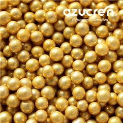 4 MM GOLD METALLIZED AZUCREN BEADS. BOX 1 KG.