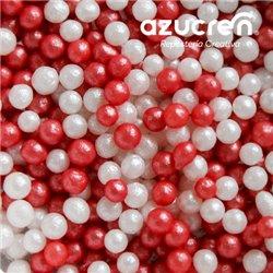 RED/WHITE AZUCREN BEADS 4 MM. AZUCREN CAN 900 GRAMS