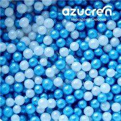 BLUE-WHITE AZUCREN PEARLS 4 MM. AZUCREN CAN 900 GRAMS