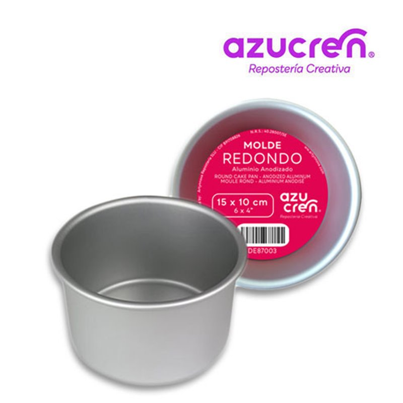 ANODIZED ROUND CAKE MOULD 15 X 10 CM. AZUCREN