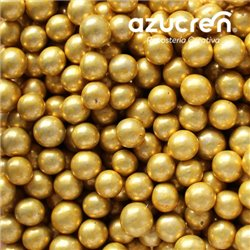 6 MM GOLD METALLIZED SUGAR BEADS. BOX 1 KG.