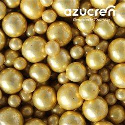 MIX OF GOLD METALIC SUGAR BEADS 4 - 6 - 8 MM. 900 GRAM JAR
